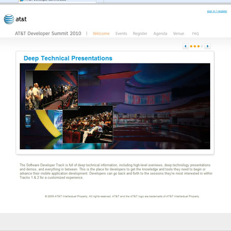 At&t 2010 Developer Summit Website