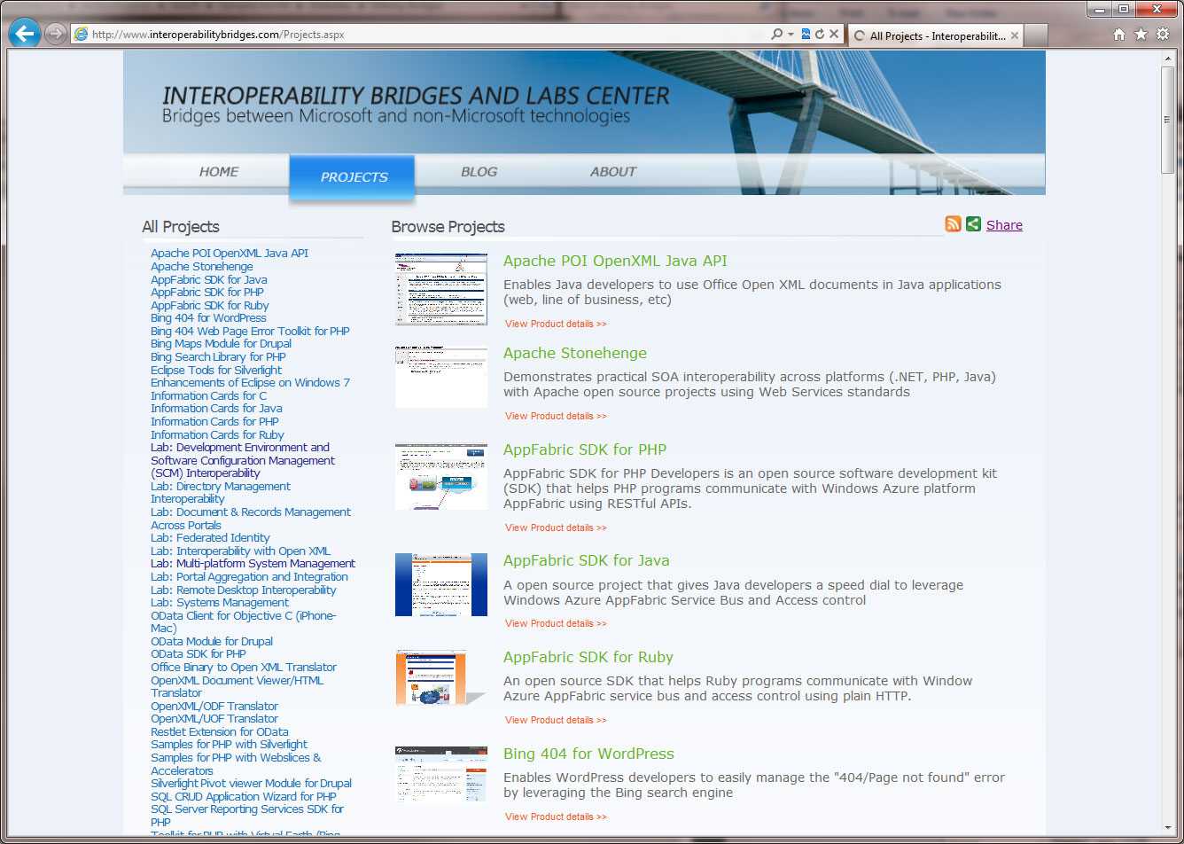 Interoperability Bridges Website - Microsoft